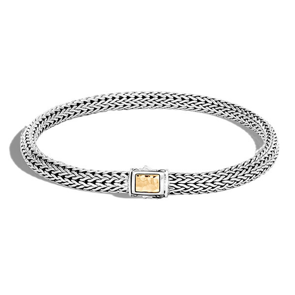 John Hardy 5mm Classic Chain Hammered Gold & Silver Clasp Bracelet