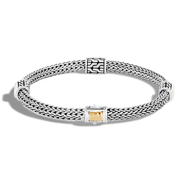 John Hardy Hammered Gold & Silver Four Station Classic Chain Bracelet