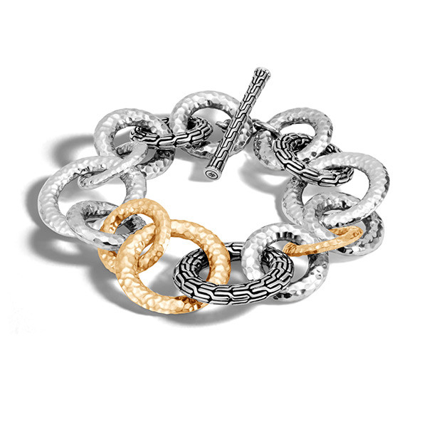 John Hardy Classic Chain Gold & Silver Hammered Bracelet