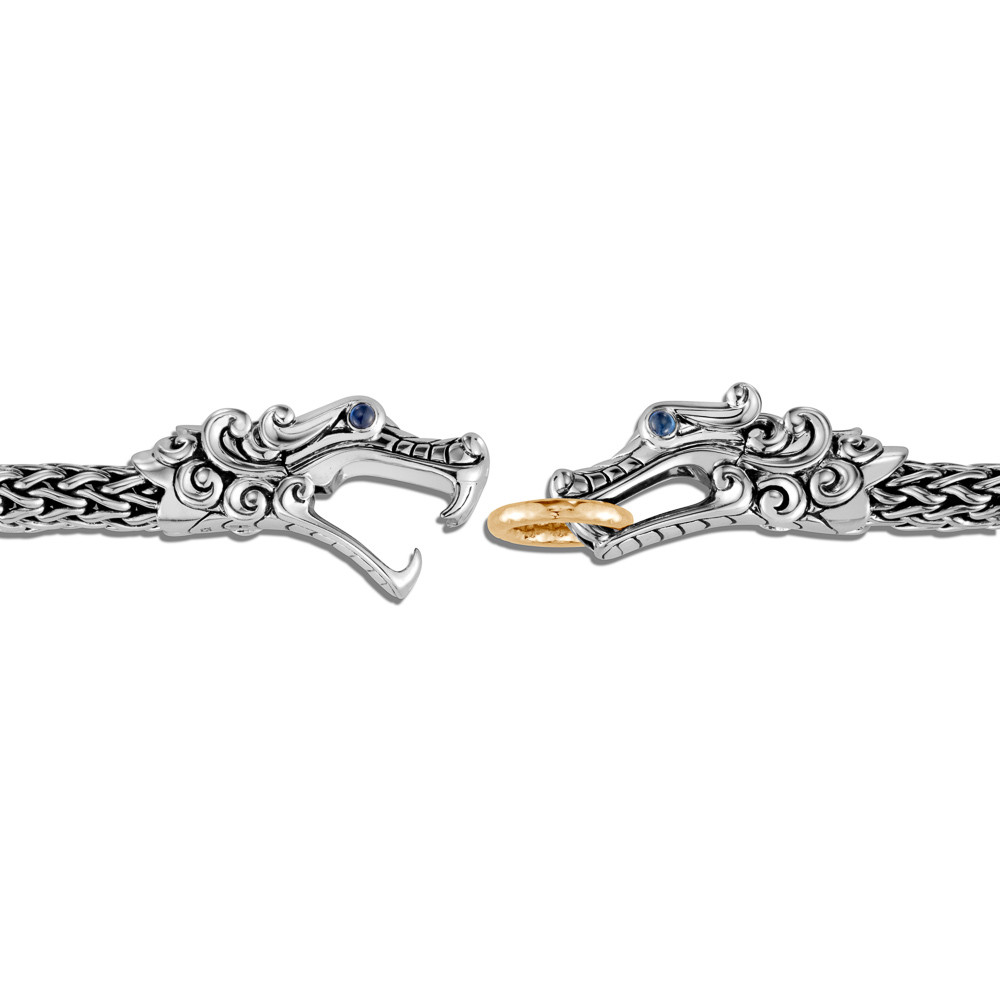 John Hardy Legends Naga  Double Dragon Bracelet in 18K Gold and Silver clasp view