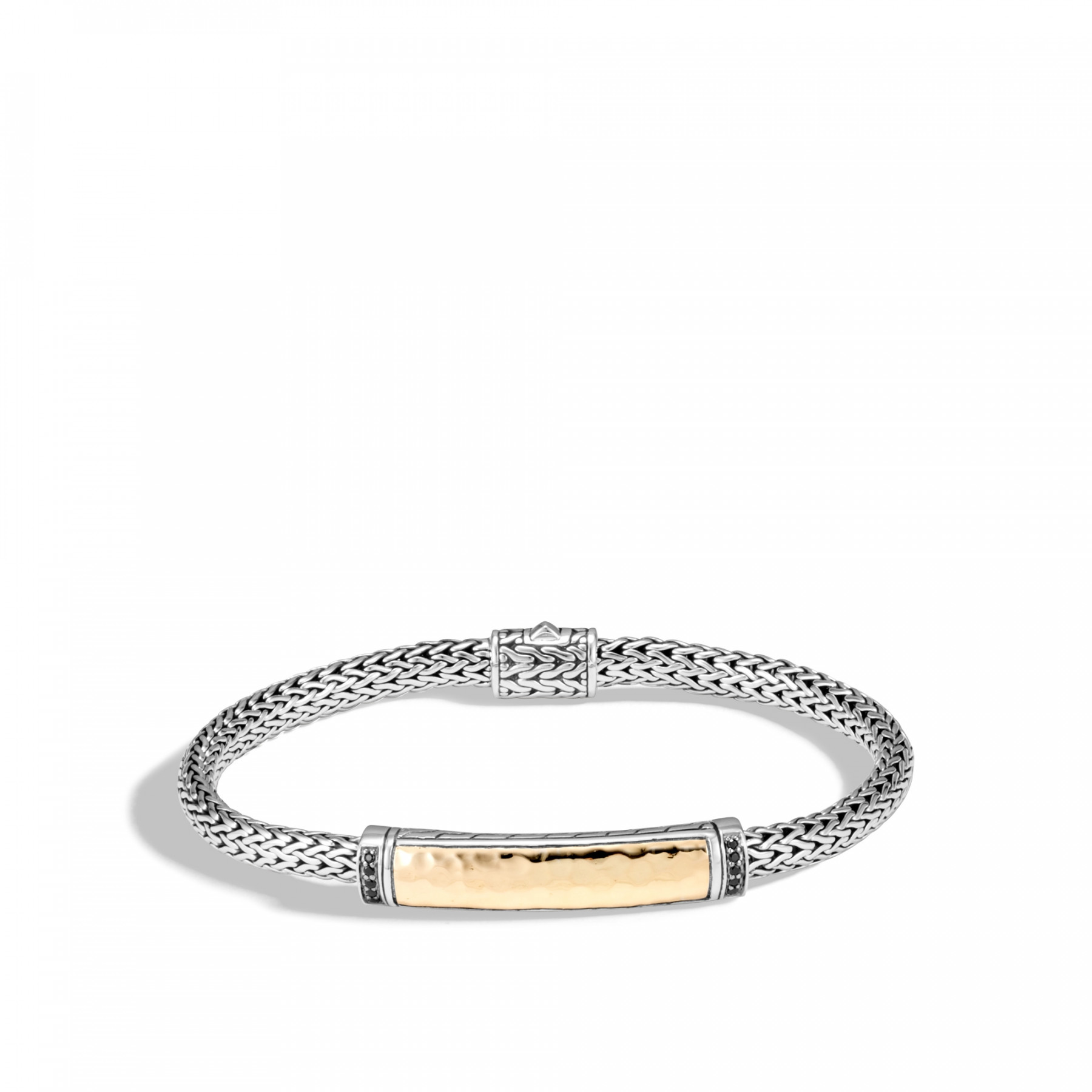 John Hardy Classic Chain Two-Tone Station Bracelet with Black Sapphire