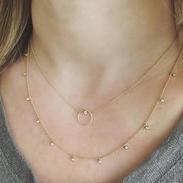 Zoe Chicco Circle Diamond Yellow Gold Necklace on Model