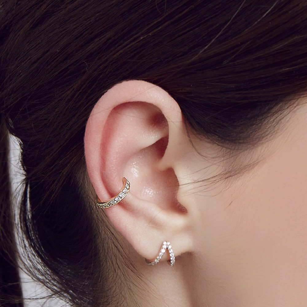 Carbon & Hyde Classic Cuff Diamond Earring in 14K Rose Gold on model
