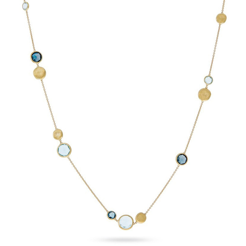 Marco Bicego Yellow Gold Jaipur Mixed Blue Topaz Station Necklace