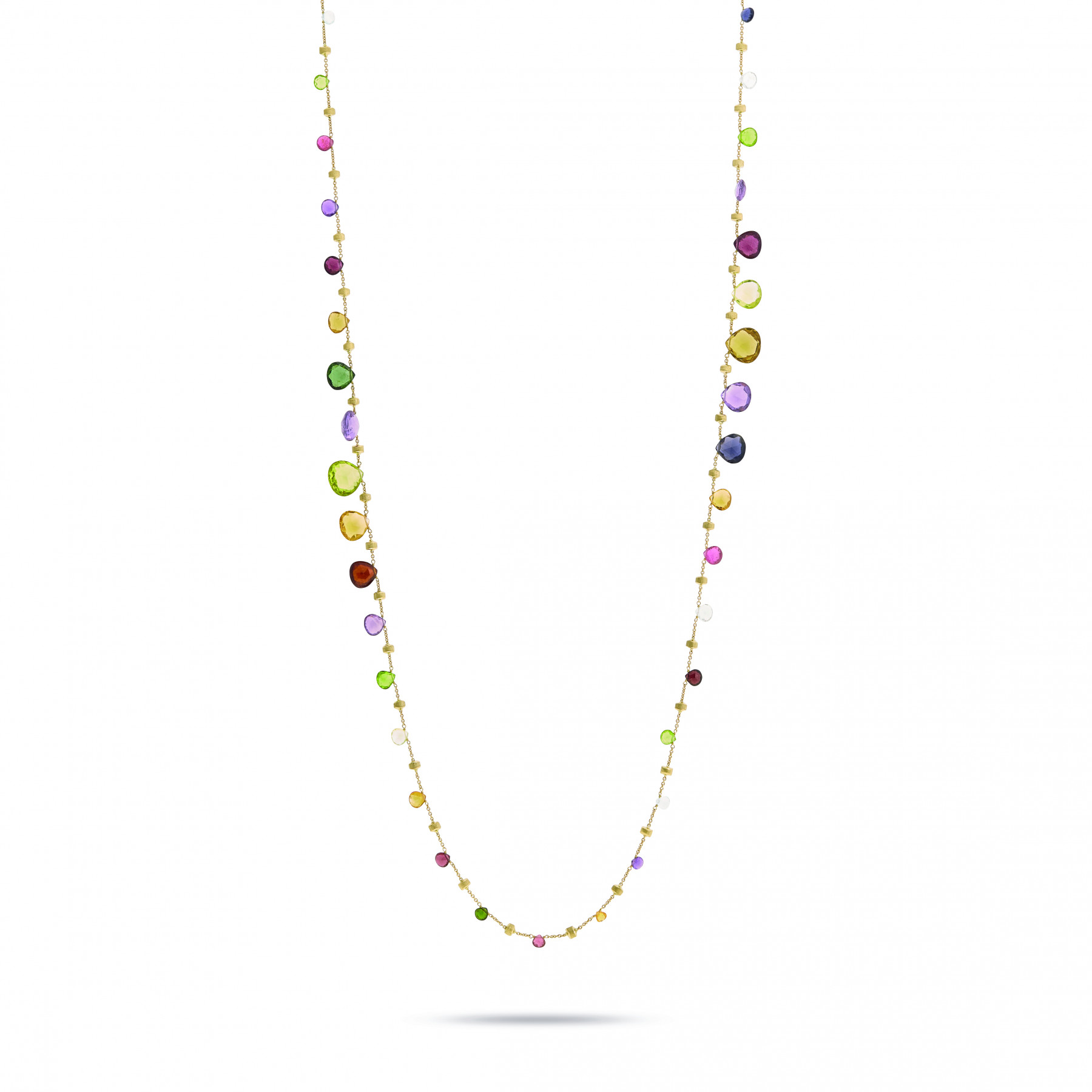 Marco Bicego Paradise Long Gemstone Station Necklace in 18K Gold