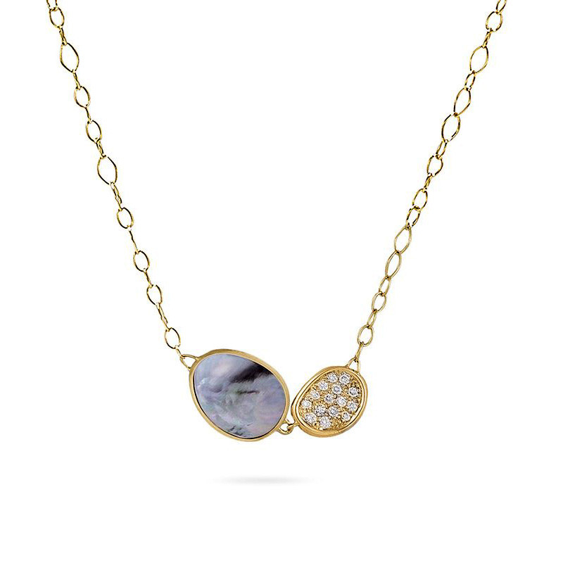 Marco Bicego Black Mother of Pearl Double Leaf Pendant Lunaria Necklace
