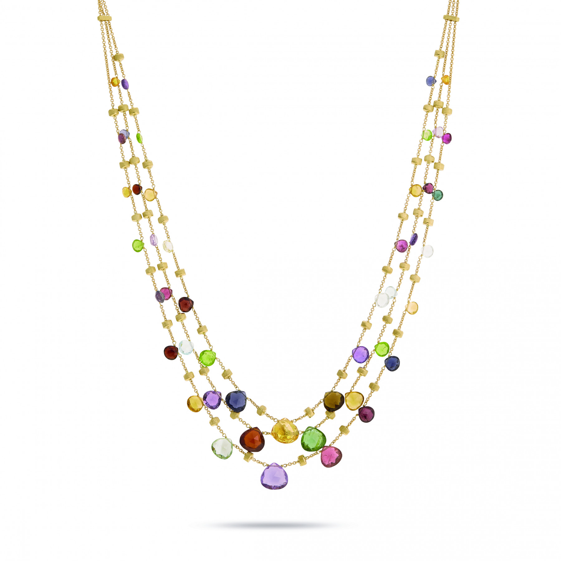 Marco Bicego Paradise Gemstone Layered Necklace in 18K Gold