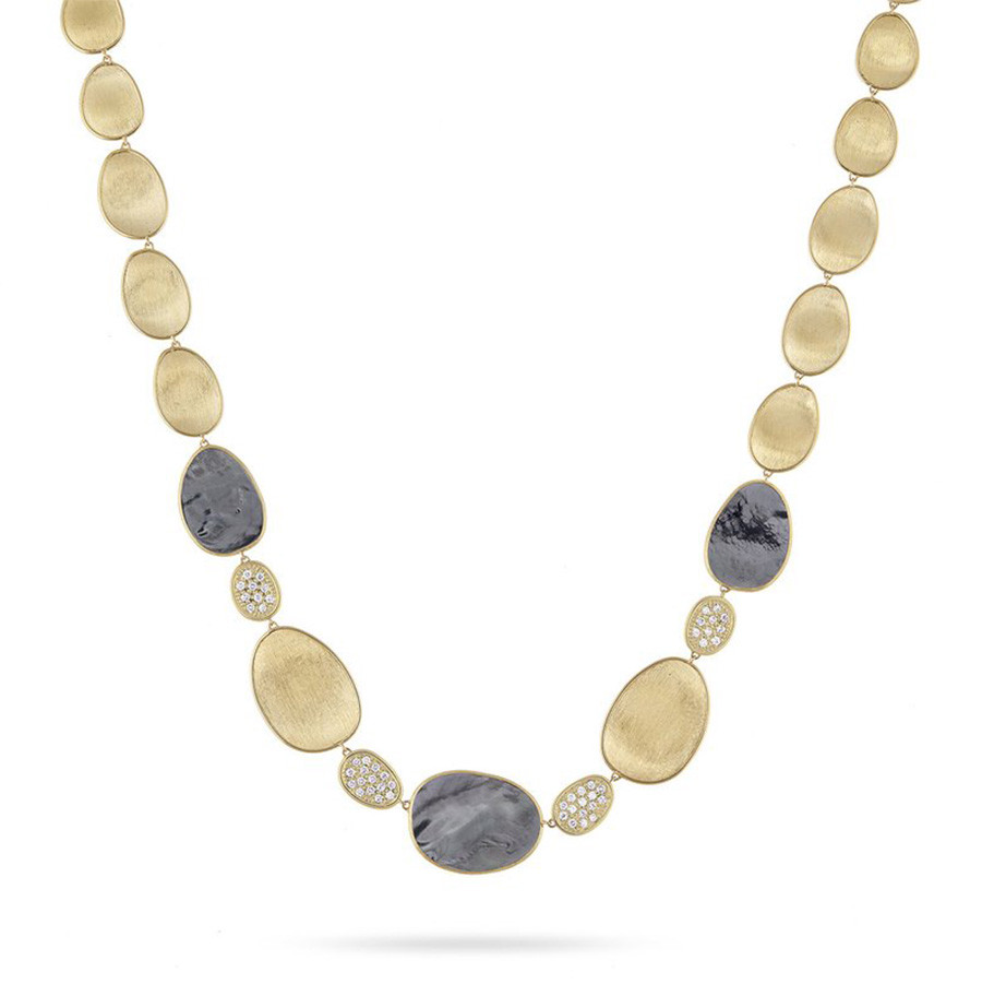 Marco Bicego Black Mother of Pearl & Diamond Lunaria Station Necklace