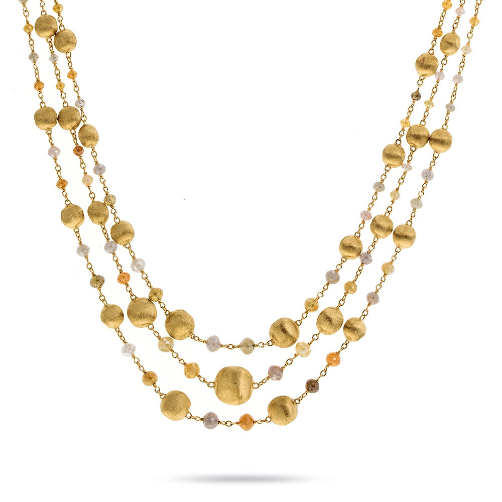 Marco Bicego Yellow Gold Africa Stellar Mixed Diamond Multi-Strand Necklace