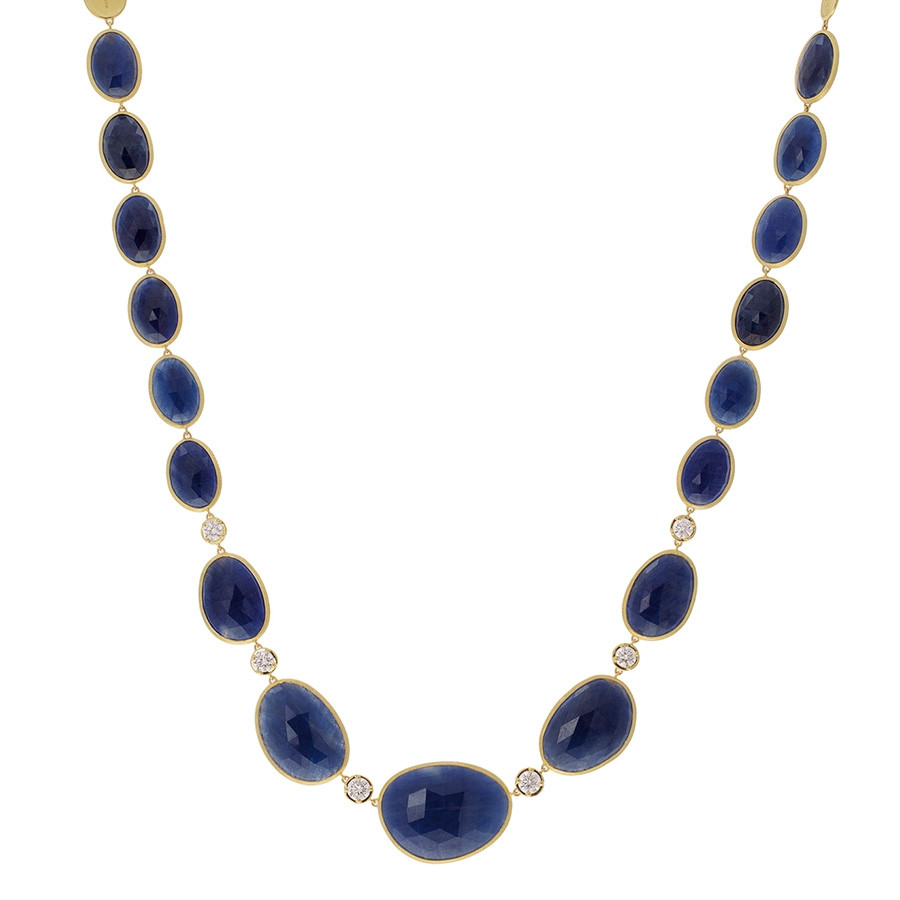 Marco Bicego Blue Sapphire & Diamond Station Lunaria Necklace