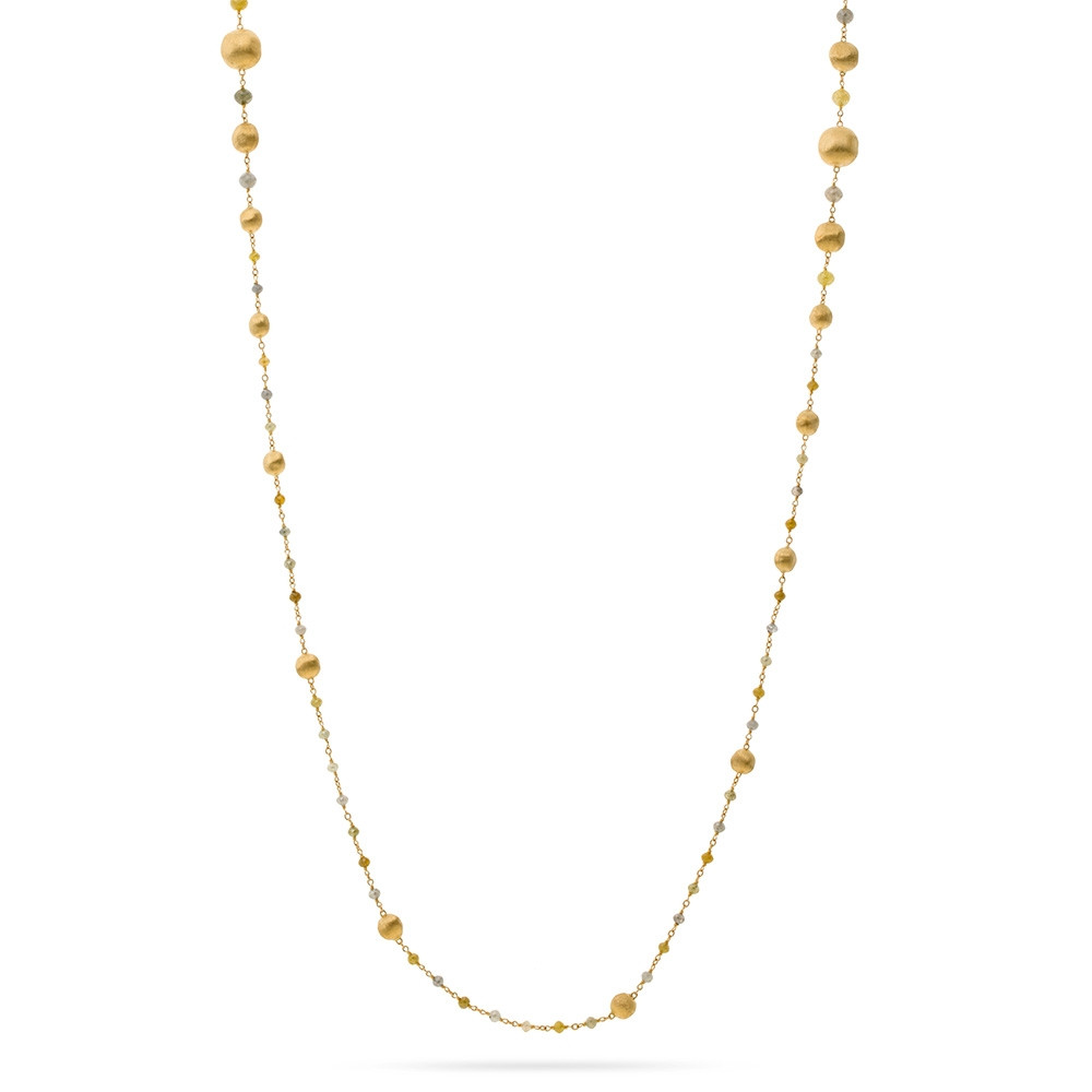 Marco Bicego Long Africa Stellar Yellow Gold Mixed Diamond Necklace