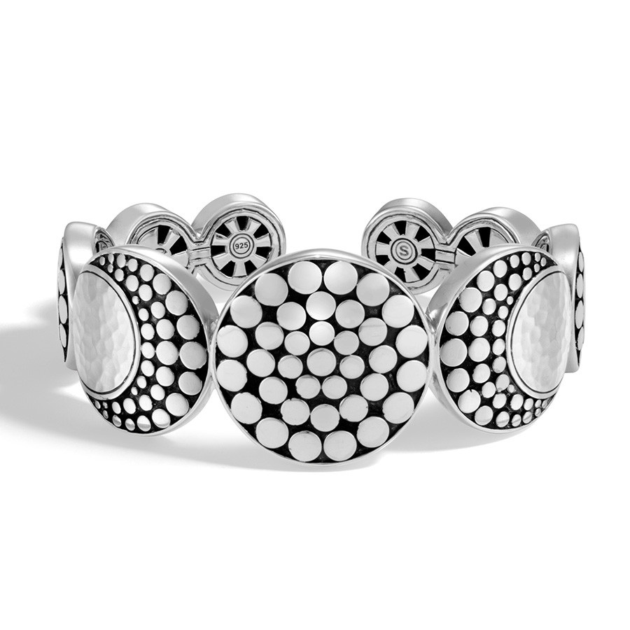 John Hardy Hammered Silver Dot Moonphase Flex Cuff Front View