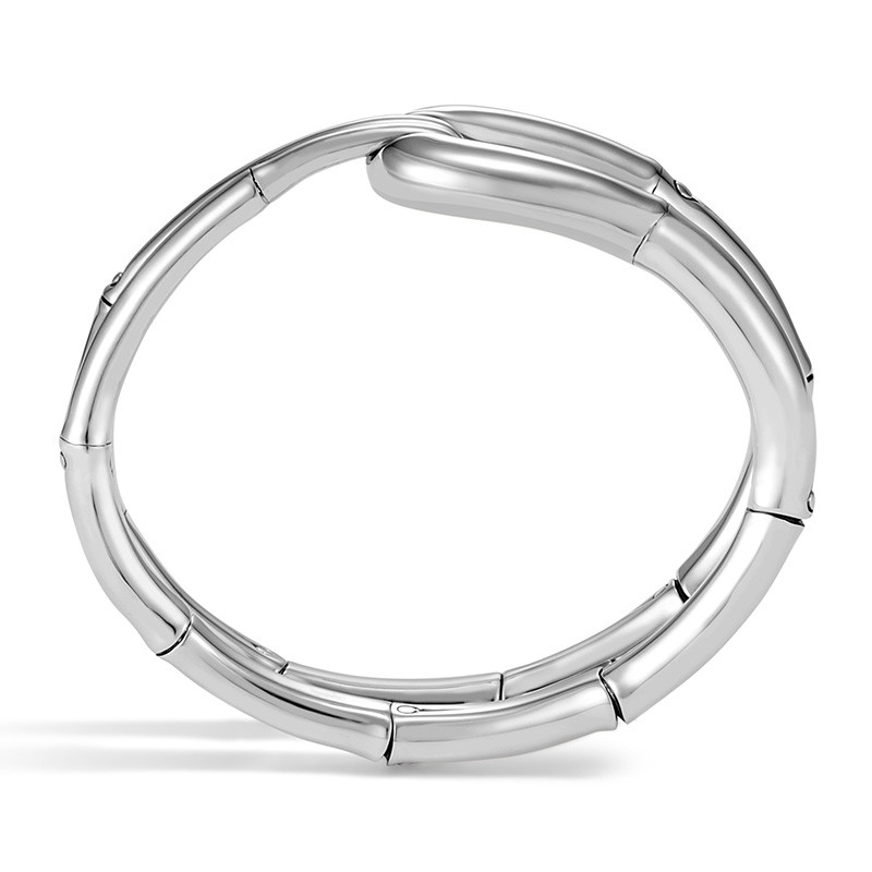 John Hardy Large Silver Loop Flex Bamboo Cuff Profile View