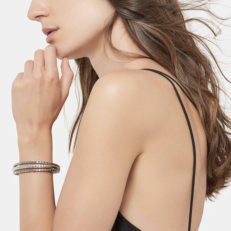John Hardy Hammered Classic Chain Silver Arch Cuff on Model