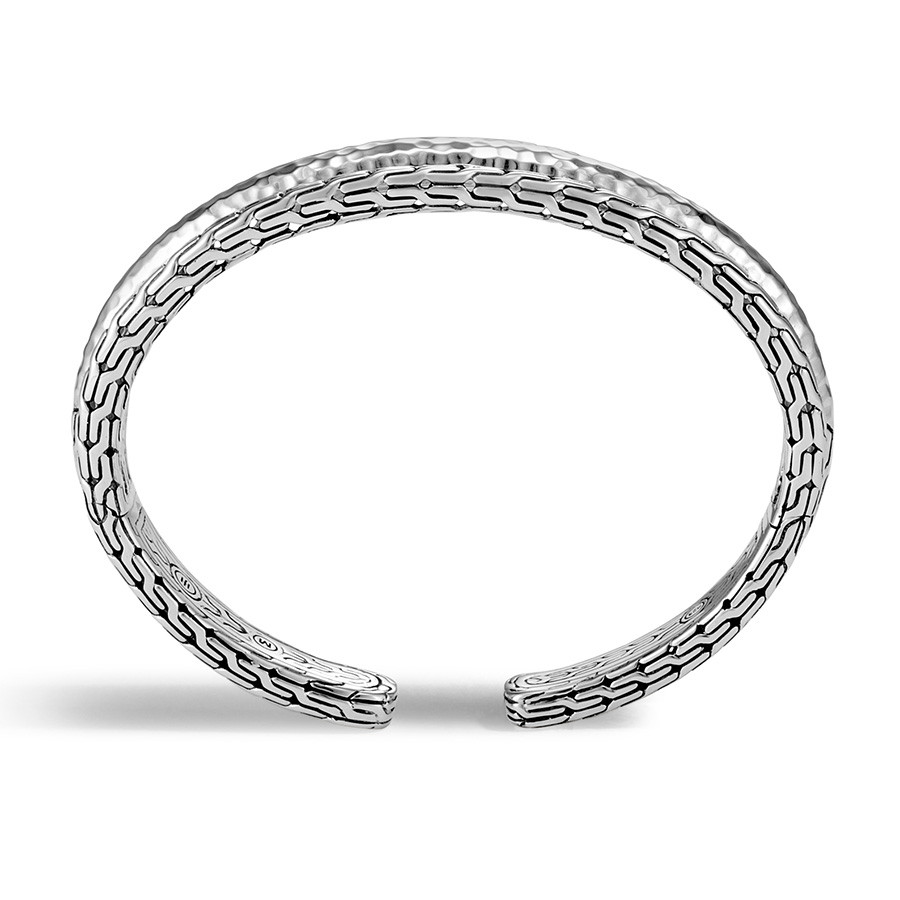 John Hardy Medium Classic Chain Hammered Silver Arch Cuff Profile View