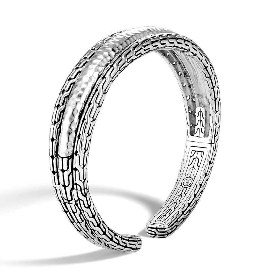 John Hardy Hammered Classic Chain Silver Arch Cuff Angle View