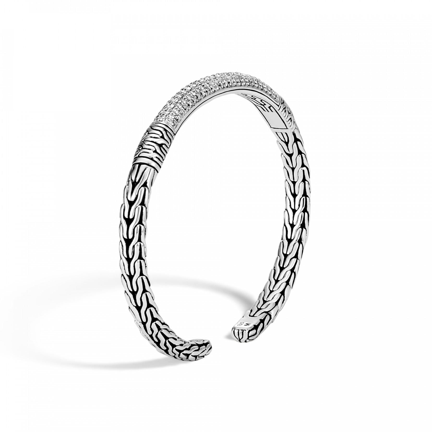 John Hardy Classic Chain Diamond Cuff in Sterling Silver angle view