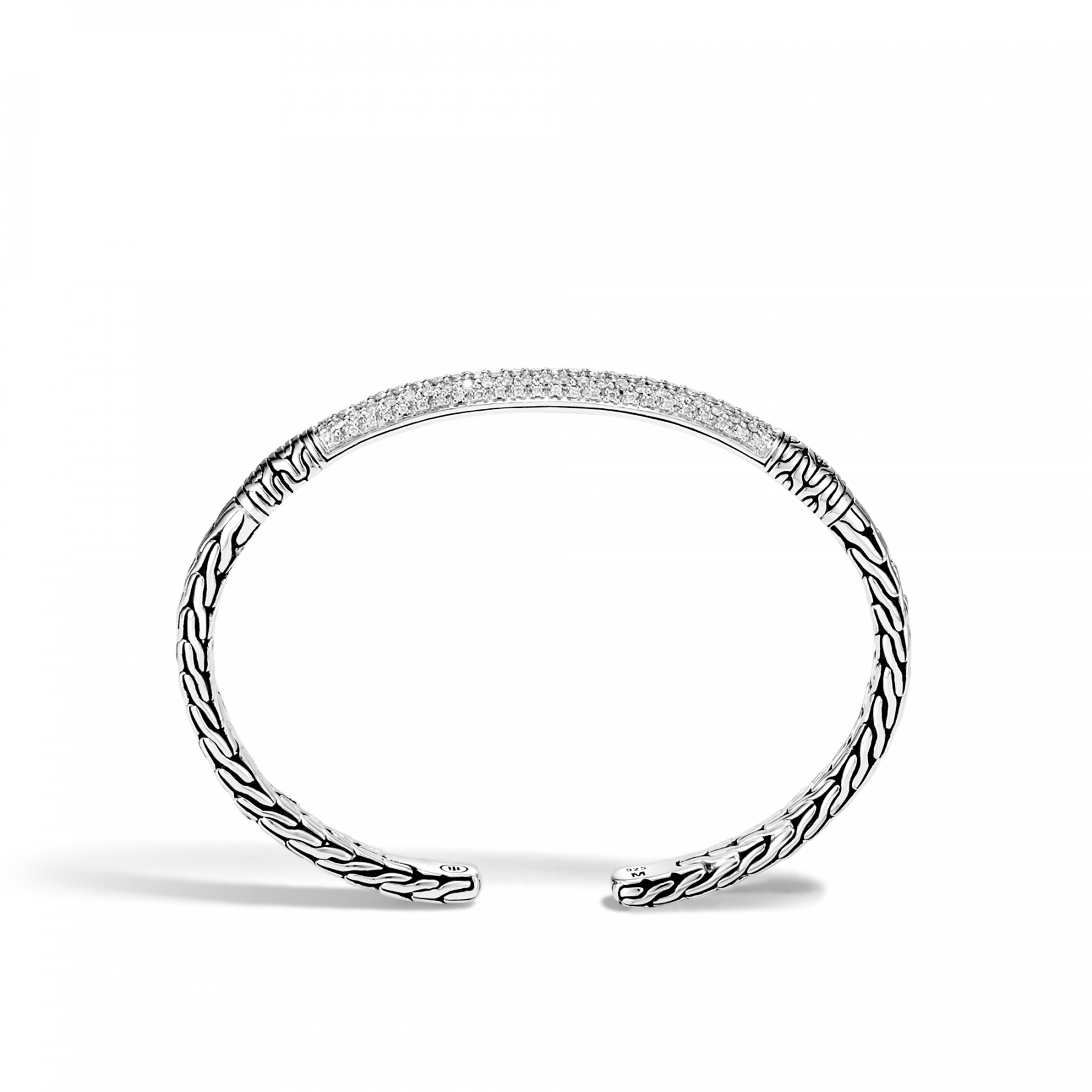 John Hardy Classic Chain Diamond Cuff in Sterling Silver side view