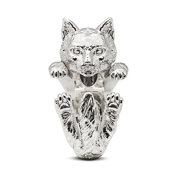 Cat Fever Norwegian Forest Hug Silver Ring Front View