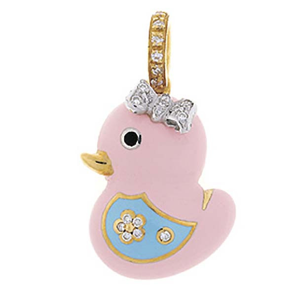 Aaron Basha Chick Pink Diamond Bow & Light Blue Wing 18kt Yellow Gold Charm