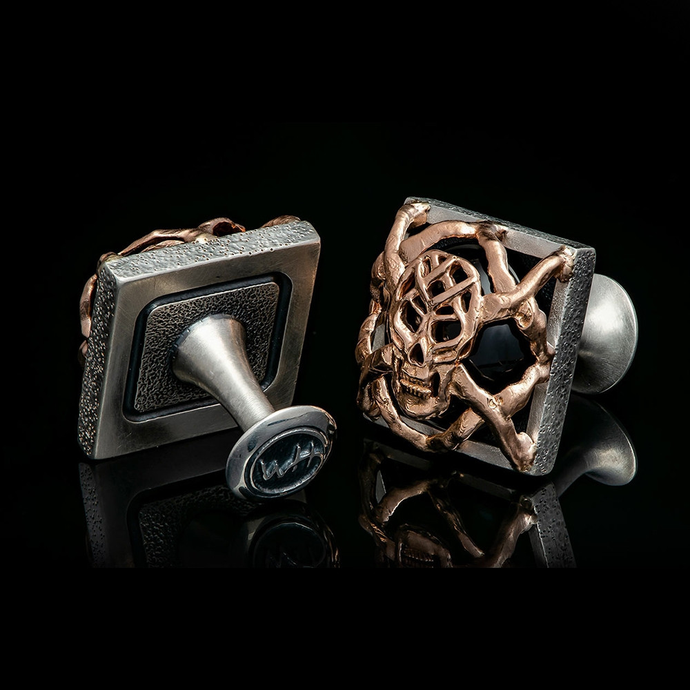 William Henry Outlaws Embrace Silver & Rose Gold Black Onyx Skull Cufflinks Back Side