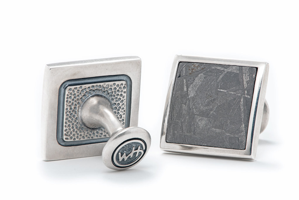 William Henry Meteorite and Sterling Silver Square Cufflinks back image