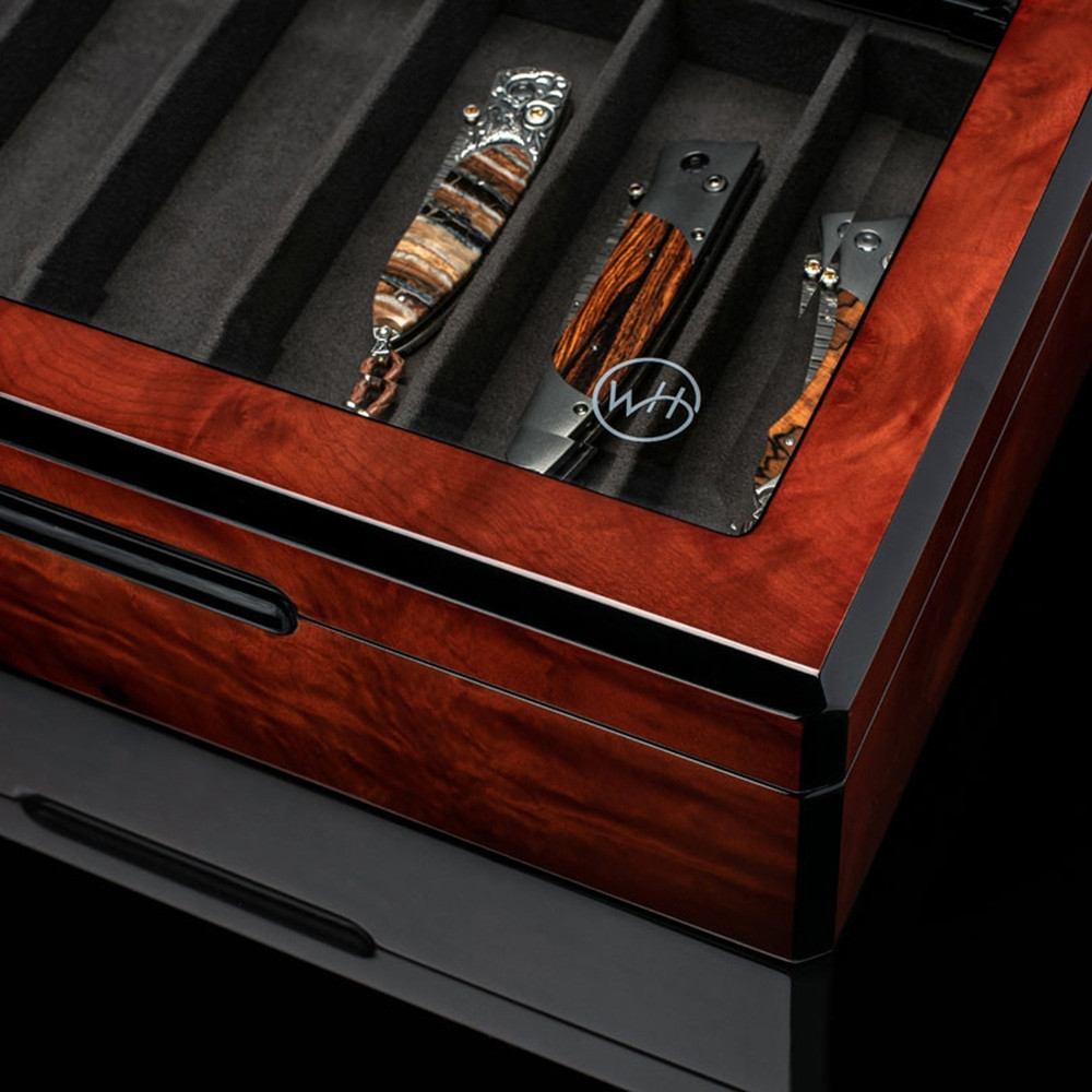William Henry Collector Dark Cherry Pocket Knife Display Case Closed View