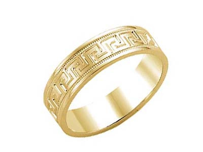 Crown Ring 6mm Carved Yellow Gold Mens Wedding Band
