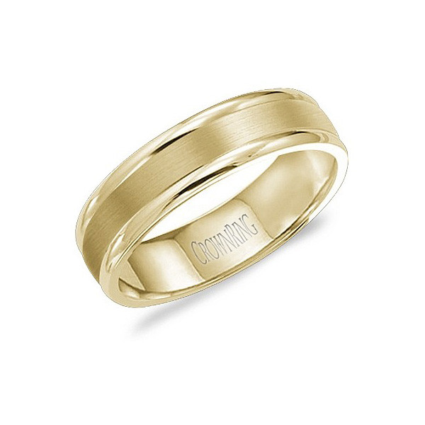 Crown Ring Yellow Gold Brushed 6mm Mens Wedding Band