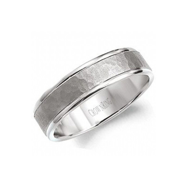 Crown Ring 6mm Hammered Mens Wedding Band