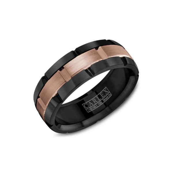 Crown Ring 7.5mm Black Cobalt and Rose Gold Mens Wedding Band