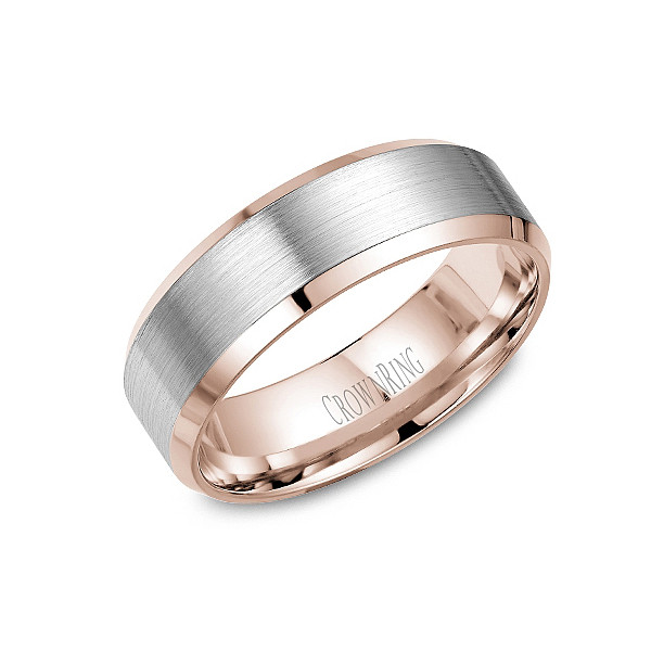 Crown Ring 7mm Classic Brushed Mens Wedding Band
