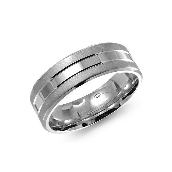 Crown Ring White Gold 7mm Smooth Center Mens Wedding Band
