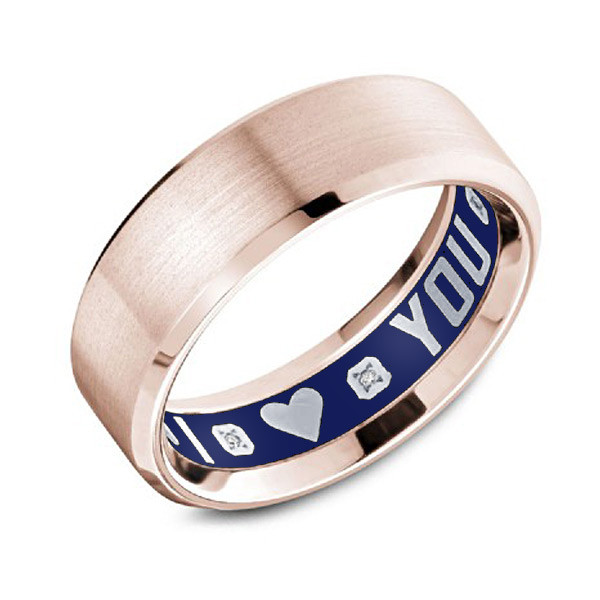 Crown Ring Carlex G4 Blue Enamel Rose Gold Mens Wedding Band