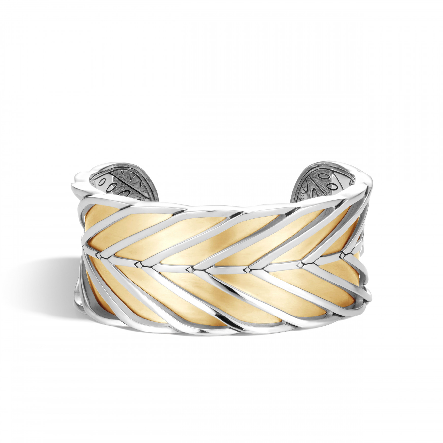 John Hardy Modern Chain 30mm Cuff Bracelet in Silver & Gold front view
