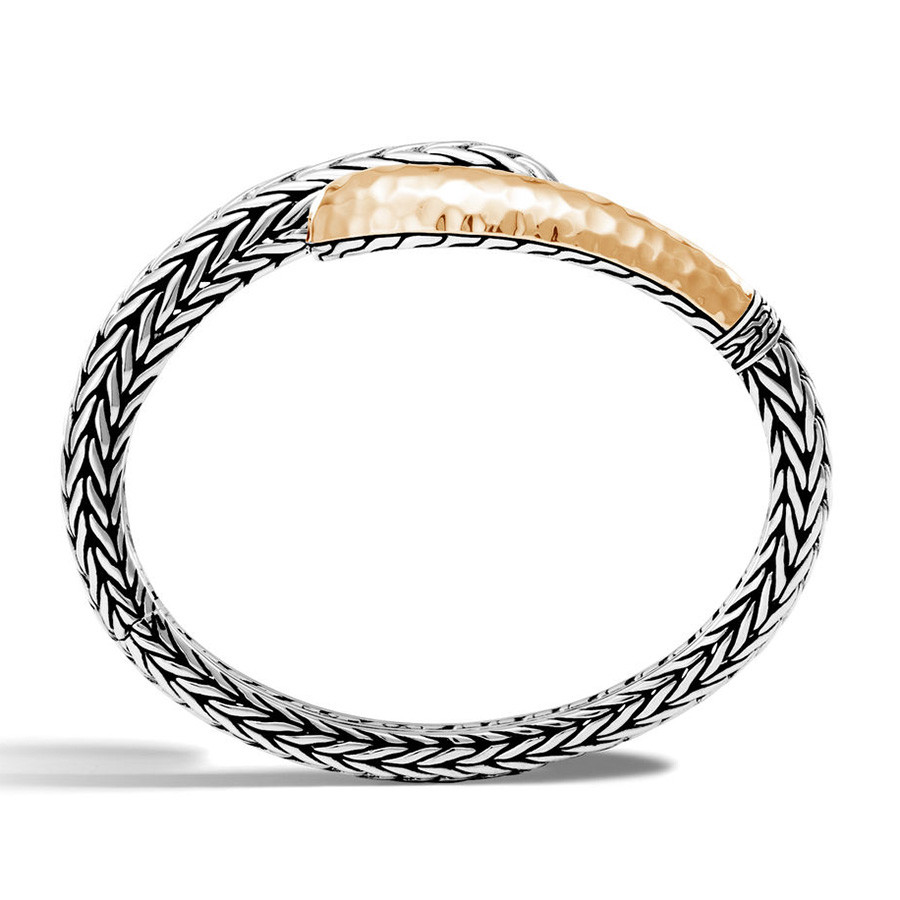John Hardy Classic Chain Large Hammered Silver & Gold Slim Kick Cuff Side View