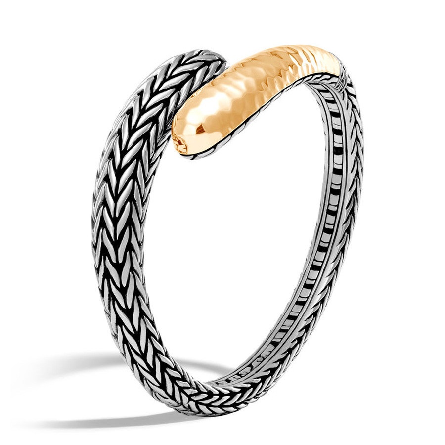 John Hardy Classic Chain Large Hammered Silver & Gold Slim Kick Cuff Angle View