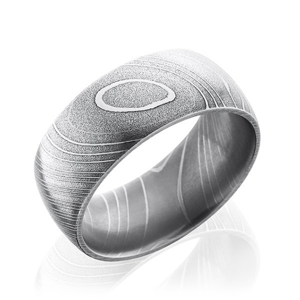 Lashbrook 10mm Domed Polished Damascus Steel Band