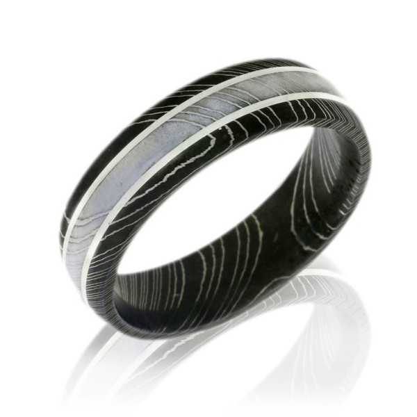 Lashbrook Damascus Steel 6mm Domed Wedding Band