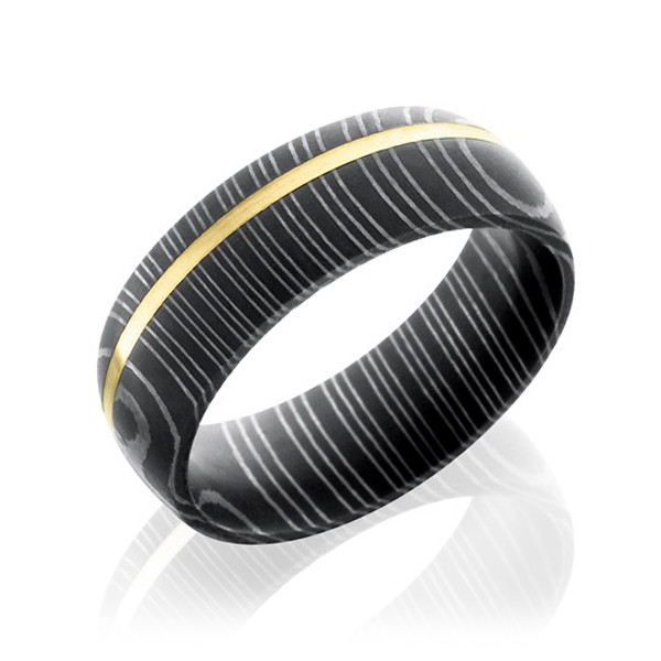 Lashbrook Domed Damascus Steel & Yellow Gold Wedding Band
