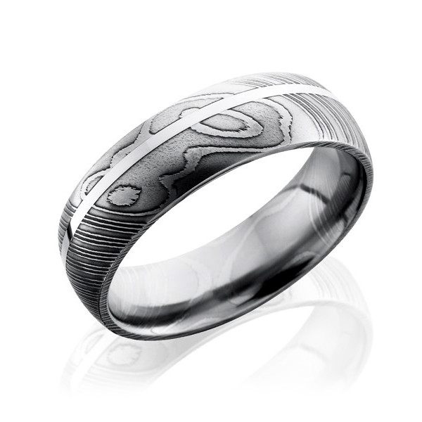 Lashbrook7mm Domed  Damascus Steel & Sterling Silver Wedding Band