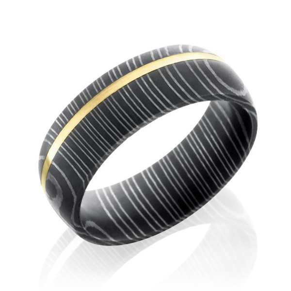 Lashbrook 8mm Domed Yellow Gold & Damascus Steel Band