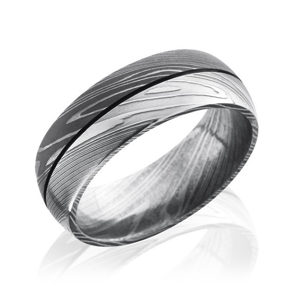 Lashbrook 8mm Damascus Steel Domed Groove Band
