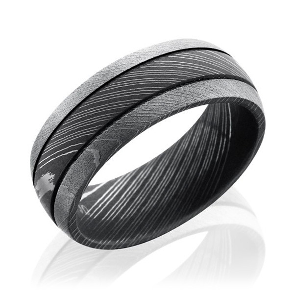 Lashbrook Damascus Steel 8mm Grooved Dome Band