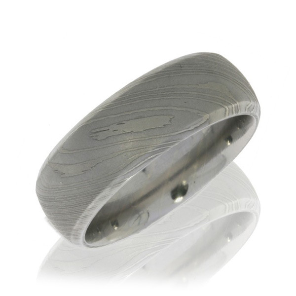 Lashbrook 8mm Domed Polished Damascus Steel Band with Beveled Edges