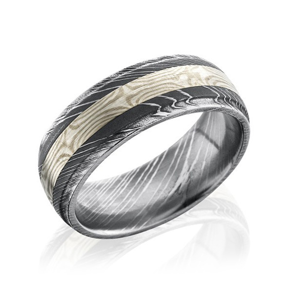 Lashbrook 8mm Damascus Steel Domed Mokume Inlay Wedding Band
