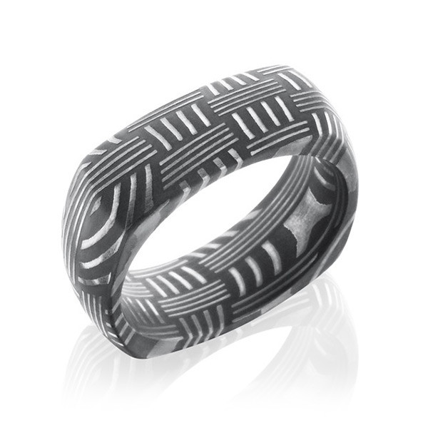 Lashbrook 8mm Damascus Steel Domed Basket Pattern EuroSquare Wedding Band