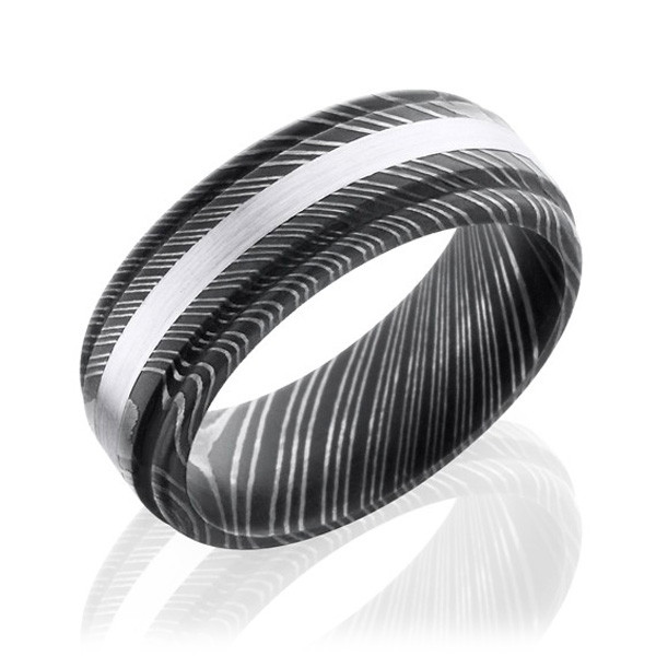 Lashbrook 8mm Domed Damascus Steel & White Gold Band