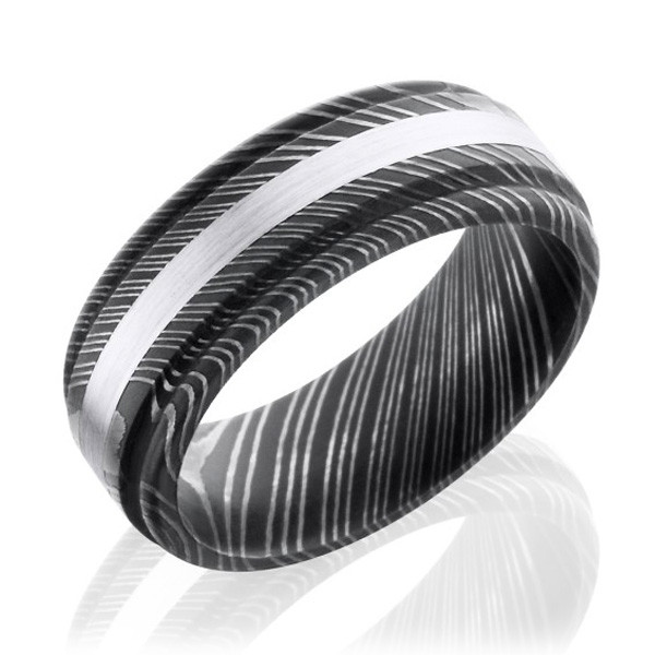 Lashbrook Damascus Steel & White Gold Flat Wedding Band