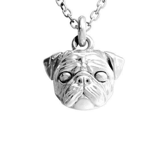 Dog Fever Pug Silver Pendant Necklace